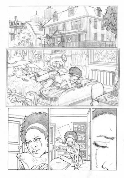 """Primera página Marvel para el proyecto """"Hear me"""" (2007)."""